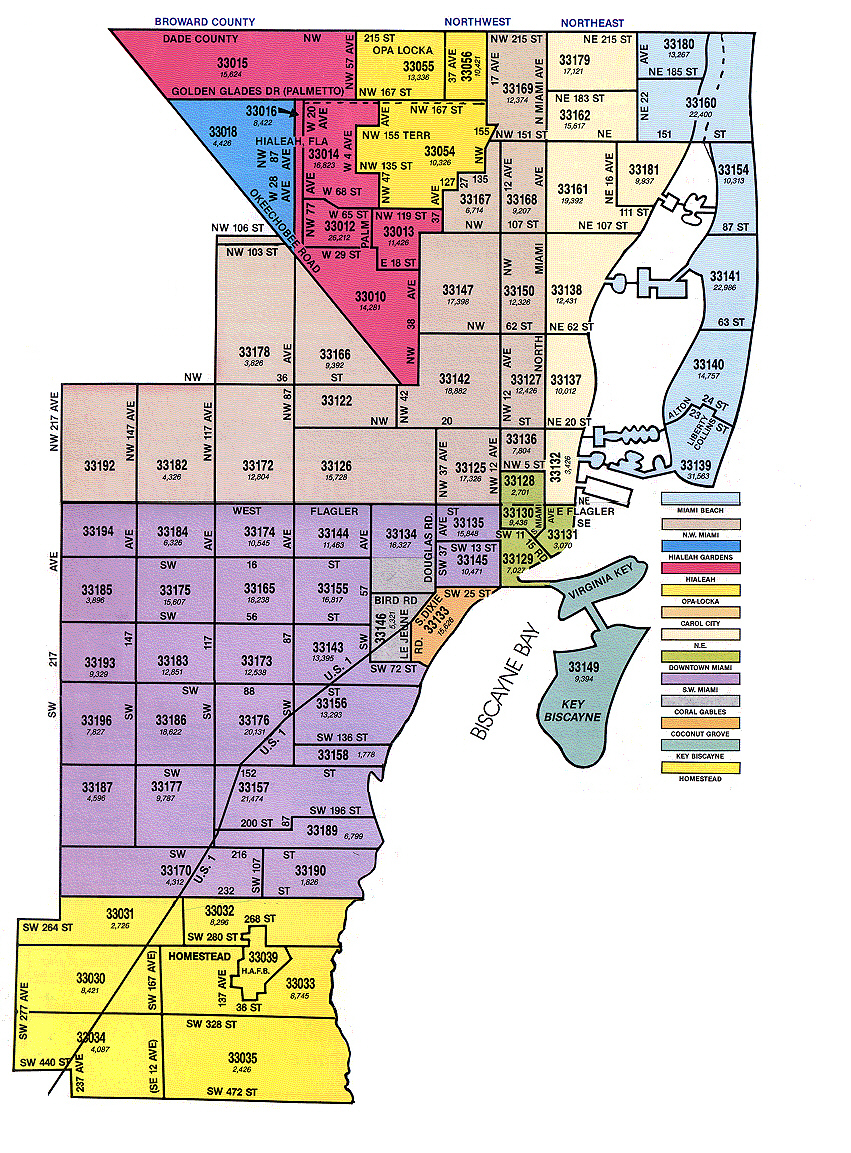 miami florida map with zip codes