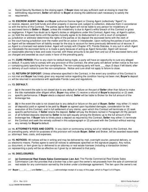 The Florida Mercial Contract CC 4 Mercial Property