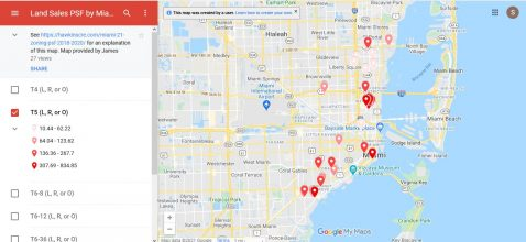 This is what the map should look like if you deselect all Miami 21 zoning classifications except for T5.
